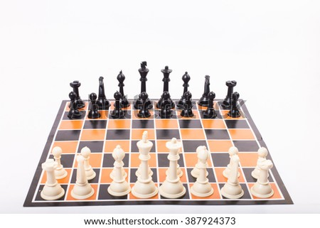 chess set with white background - stock photo
