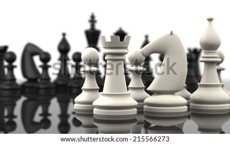 Chess table with Chess figures. Isolated on white. Three Dimensional rendering. - stock photo