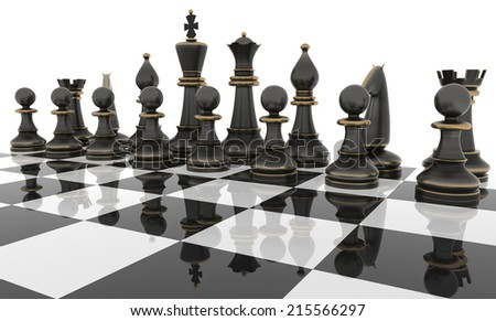 Chess table with metal Chess figures. Isolated on white. Three Dimensional rendering. - stock photo