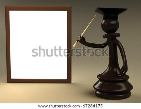 Chess teacher 3d rendered - stock photo