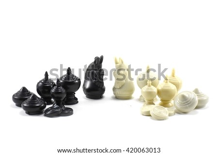 Chess Thai black and white isolated on white background - stock photo