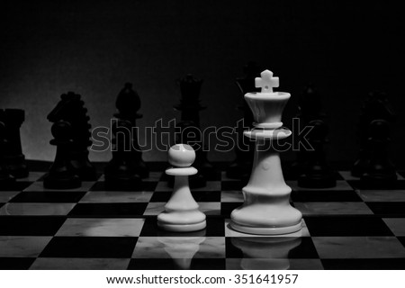 Chess. White King and Pawn on the board. Set of chess figures. - stock photo