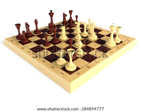 chess wooden - stock photo