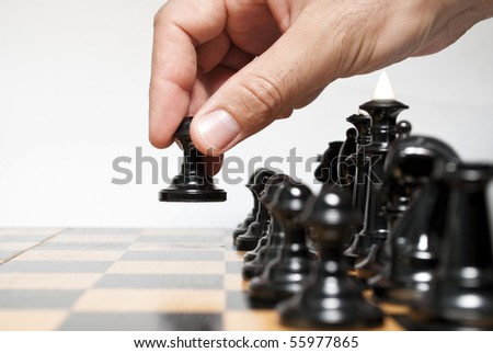 Chessboard and on it chessmen - stock photo