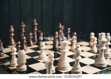 chessboard in the middle of the game - stock photo