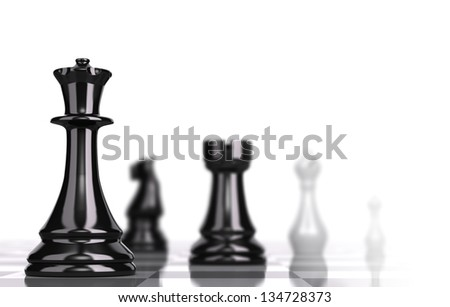 Chessboard with black and white pieces over white background and focus one the queen with blur effect, concept for business strategy - stock photo