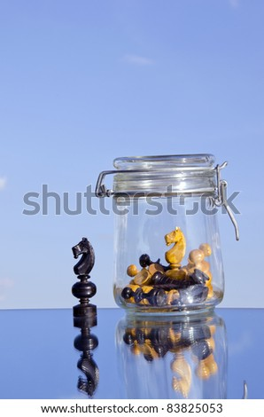 chessmans on the mirror and glass pot - stock photo
