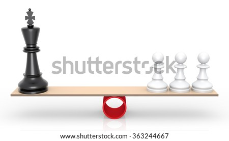 Chessmen on scales. The rivalry concept. - stock photo