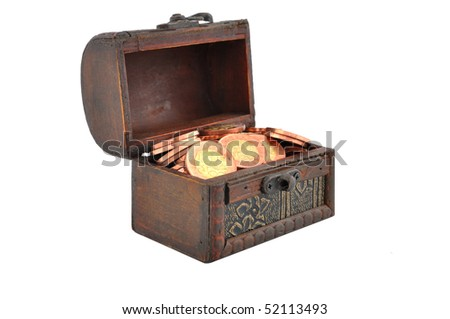 Chest full of shiny coins - stock photo