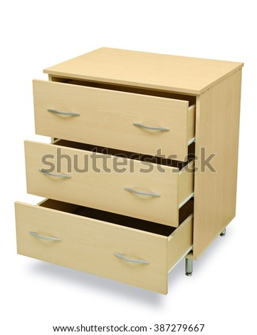 chest of drawers isolated on white - stock photo