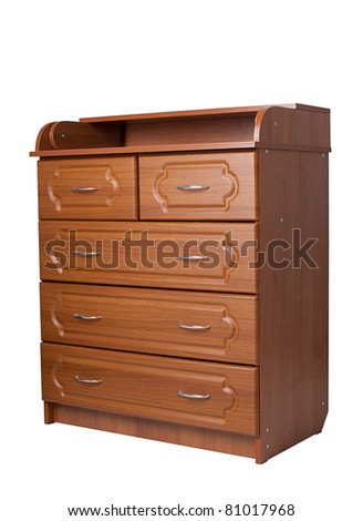 chest of drawers on white background - stock photo