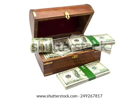 chest of the treasure full of tickets  - stock photo