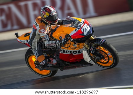 CHESTE - NOVEMBER 10: Dani Pedrosa during GP of the Comunitat Valenciana, on November 10, 2012, in Ricardo Tormo Circuit of Cheste, Valencia, Spain - stock photo
