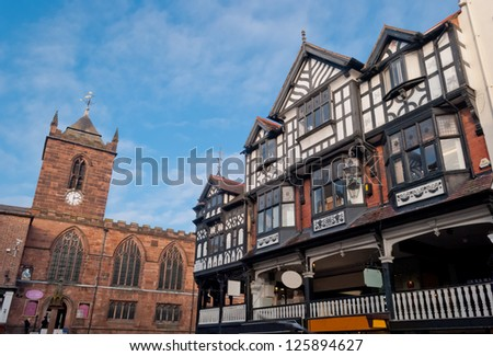 Chester, England, black and white building detail - stock photo