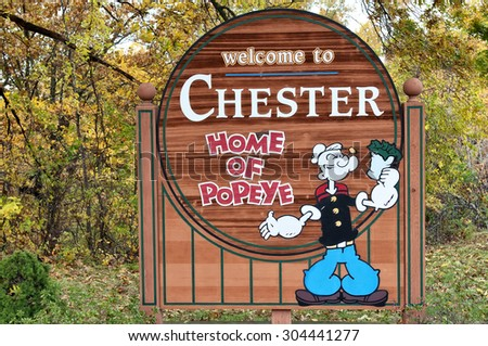 CHESTER ILLINOIS OCT. 23: Sign entering the town of Chester, Illinois, Oct 23, 2009.  Chester is known as the home of Popeye. - stock photo