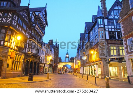 CHESTER UK-APRIL 20: Chester is arguably the richest city in Britain for archaeological and architectural treasures  on April 20, 2014 in Chester England UK. Clock at Eastgate. - stock photo