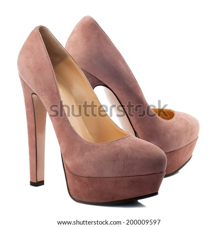 Chestnut suede high heel women shoe isolated on white background. - stock photo
