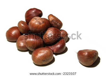 Chestnuts, isolated on white - stock photo