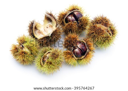 Chestnuts - isolated on white               - stock photo