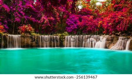 Chet Sao Noi National Park waterfall in tropical forest, Thailand - stock photo