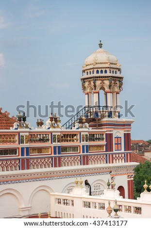 Chettinad, India - October 17, 2013: Chidambara Palace in Kadiapatti. View on the top floor with patios and lookout tower. - stock photo