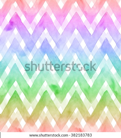 Chevrons of rainbow colors on white background. Watercolor seamless pattern for fabric - stock photo