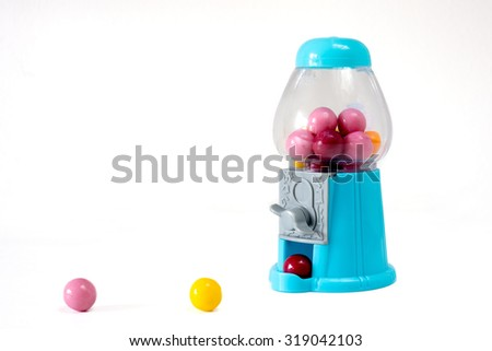chewing gum dispenser isolated on white - stock photo