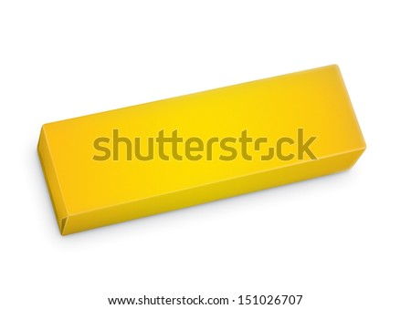Chewing gum package in three-quarter. Packing for the isolation of the product on a white background with reflections and soldering yellow color  - stock photo