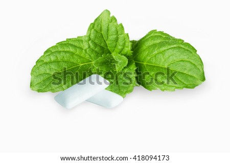 Chewing Gum with Fresh Mint Leaves Isolated on White Background - stock photo
