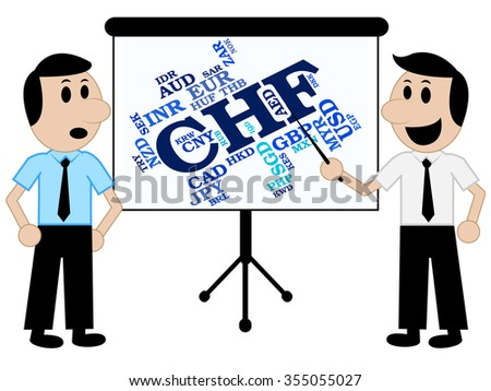 Chf Currency Showing Swiss Franc And Market - stock photo