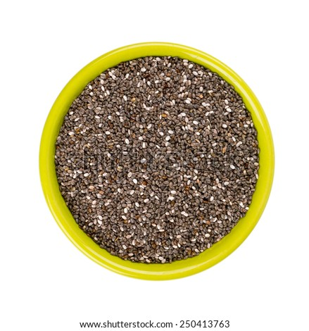 chia seeds in a bowl isolated on white - stock photo