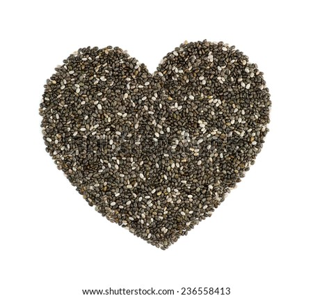 Chia seeds in heart shape isolated on white - stock photo