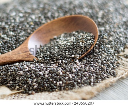 Chia seeds with a spoon close up - stock photo