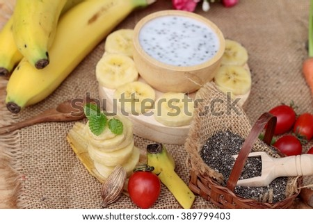 Chia seeds with milk and banana delicious - stock photo