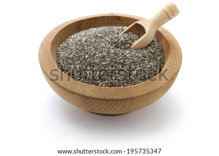 chia seeds with scoop - stock photo
