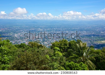 Chiang Mai city, Thailand, seen from Doi Suthep temple - stock photo