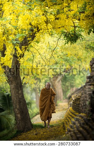 CHIANG MAI, THAILAND - Apirl 20 2014: Hike Thai Monk at the Chiang Mai Walled City - stock photo