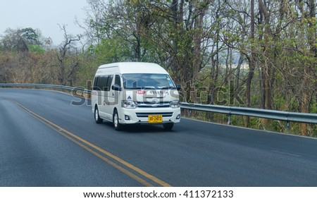 CHIANG MAI, THAILAND-APRIL 23,2016: Toyota commuter van tourists to the city  chiang mai,thailand - stock photo