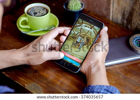 CHIANG MAI, THAILAND - FEB 09 2016: Apple iPhone 6 plus Showing Airbnb application on the screen. Airbnb is a website for people to list, find, and rent lodging. - stock photo