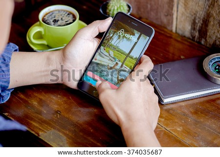 CHIANG MAI, THAILAND - FEB 09 2016 : Apple iPhone 6 plus Showing Airbnb application on the screen. Airbnb is a website for people to list, find, and rent lodging. - stock photo