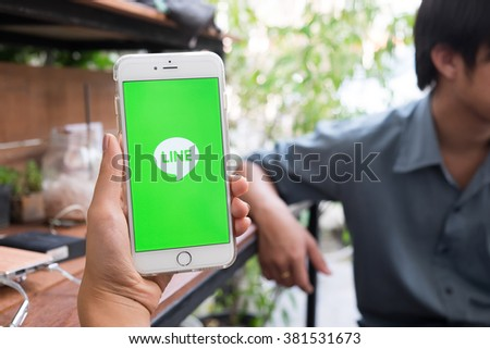 CHIANG MAI, THAILAND - FEB 22 2016: Apple iPhone 6 plus Showing Line application, Line is a Japanese application for instant messaging on smartphones and computers. - stock photo