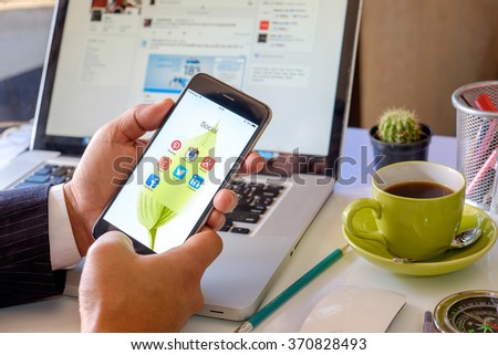 CHIANG MAI ,THAILAND FEB 2 2016 : Group of Popular Social networks icons showing on Apple iPhone 6 plus screen device.  - stock photo