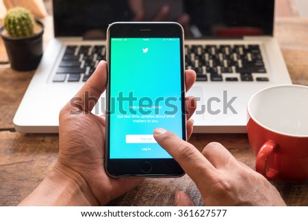 CHIANG MAI,THAILAND JAN 13 - 2016 : Apple iPhone 6 plus showing log in Twitter application. Twitter is largest and most popular social networking site in the world. - stock photo