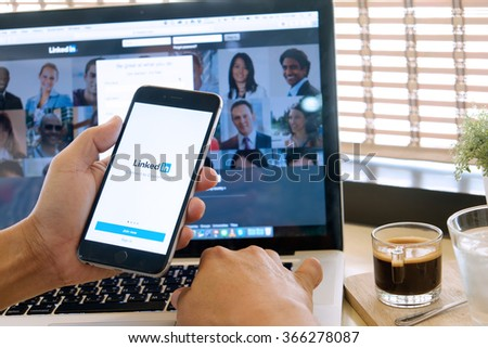 CHIANG MAI ,THAILAND, JAN 23 2016 : CHIANG MAI ,THAILAND, JAN 23 2016 : iPhone 6 plus with social network service LinkedIn on the screen. iPhone 6 plus was created and developed by the Apple inc. - stock photo