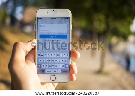 CHIANG MAI, THAILAND - JANUARY 04, 2015: Linkedin is a social networking website for people in professional occupations on apple iphone 6 with login page. - stock photo