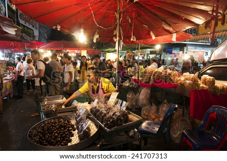 CHIANG MAI THAILAND - JANUARY 5 : Warorot Market, Popular tourist food and visit the local fruit market is be held everyday. on January 5 , 2015 in Chiang Mai, Thailand.  - stock photo