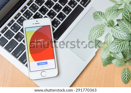CHIANG MAI, THAILAND -JUNE 24, 2015: iPhone opened to google plus homepage. Googleplus, share and discover everything on Googleplus. - stock photo