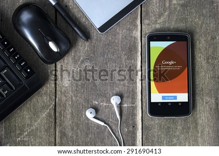 CHIANG MAI, THAILAND -JUNE 29, 2015:LG Nexus5 displaying the Google Plus application. Google Plus is Google's attempt at social networking.  - stock photo