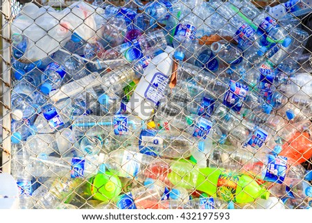 CHIANG MAI,THAILAND -JUNE 3 : Recycling center collects plastic bottles on June 3, 2015 in Chiang mai,Thailand's Department of Health Exposing waste in an increase of up to 15 million tons per year .  - stock photo