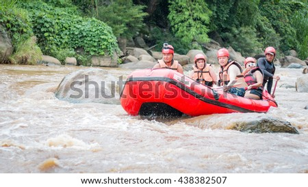 CHIANG MAI , THAILAND - June 15  : Whitewater rafting on the rapids of  Maetang river on June 15, 2016 in Chiang Mai, Thailand - stock photo